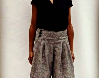 SALE, Pleated Shorts with Back Pockets in Hemp/Organic Cotton Denim