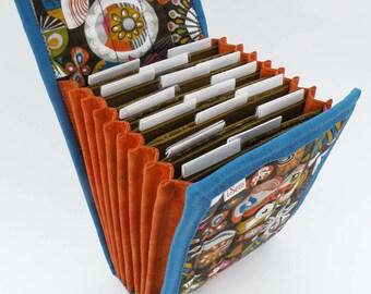 Circular Needle Case - Tiki - Needle Holder Needle Wallet Circular Needle Organizer Brown Orange Colorful