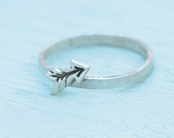 ARROW Stacking Ring, eco-friendly silver or 14kt gold vermeil. Handcrafted by artisan Chocolate and Steel handmade