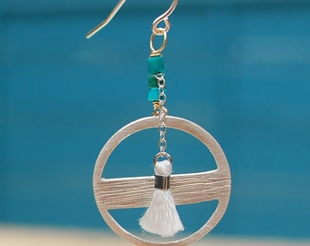 HORIZON HOOKS earrings sterling silver or 14kt gold vermeil with beads and tassel handcrafted and carved by artisan Chocolate and Steel