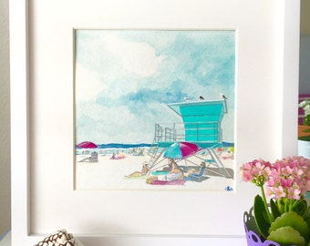 LIFEGUARD STATION Original framed watercolor painting