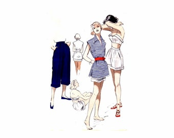 1950s Halter Bra Top Blouse Shorts Pedal Pushers Butterick 5265 Vintage Sewing Pattern Size 16 Bust 34
