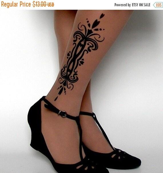 15%SALE/endsAUG30/ sexy TATTOO 01 knee-high socks Deep Mocha