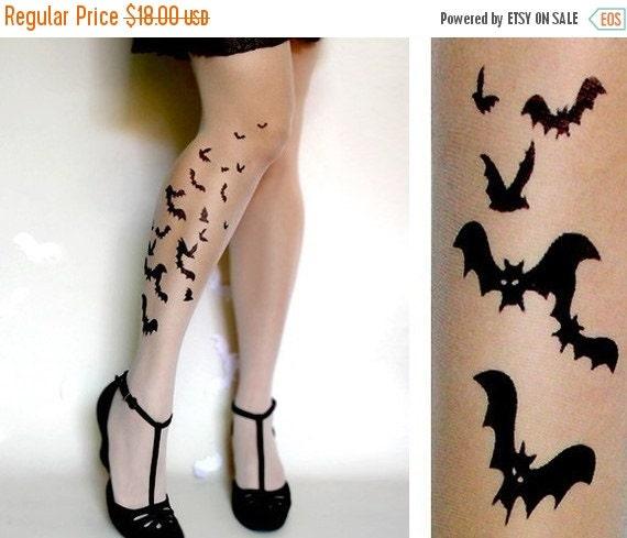 Sale/15%Off/EndsSep30/ sexy BATS TATTOO thigh-high socks ultra pale