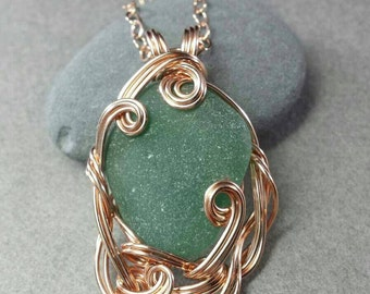 Teal Green Grecian Sea Glass and Rose Gold Fill Sculpted Wire Wrapped Pendant