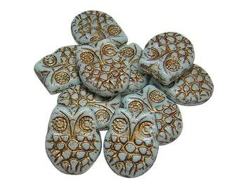 Czech Owl Beads - Czech Picasso Beads - Czech Glass Beads - Horned Owl - Owl Charm - 18x15mm - Blue Owl - Gold Owl  4pcs (5209)