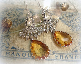let there be light one of a kind vintage assemblage earrings layered mid century rhinestone spray crown prong set faux topaz crystals