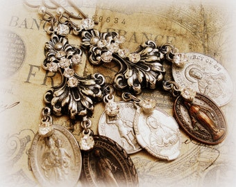 sacred one of a kind vintage assemblage earrings instant collection of 6 vintage holy medals