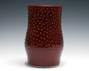 Rhubarb Red Vase with Raised Dots