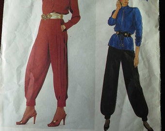 Vintage 80s Vogue Paris Original 1014 YSL Designer Top and Pleated Pants Outfit Sewing Pattern size 8 B31.5