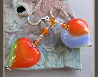 Monet Poppy Murano Glass Valentine Heart Earrings by Cornerstoregoddess