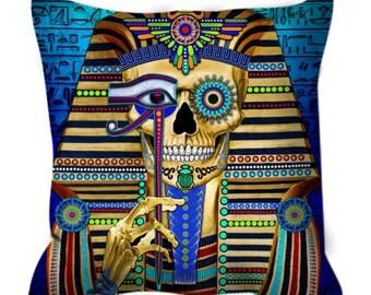 Egyptian Sugar Skull Throw Pillow - King Tut Skull Art Pillow - Day of The Dead Home Decor - Funky Bone Pharaoh