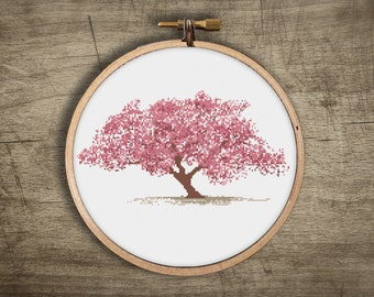 asian cherry blossom tree cross stitch pattern ++ vintage retro modern ++ pdf  INsTAnT DOwNLoAD ++ diy ++ hipster ++ handmade design