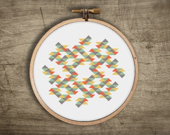 modern cross stitch pattern ++ geometric retro triangle mosaic ++ pdf INsTAnT DOwNLoAD ++ diy hipster ++ handmade design