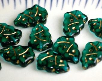 17x7mm Transparent EMERALD GREEN CHRISTMAS Tree Glass Beads (12) ROP11