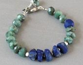 Raw Emerald Lapis Lazuli Bracelet Sterling Silver Bead DJStrang Green Boho Cottage Chic Green Blue Gemstone