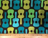 Sale Fabric by the yard - Michael Miller - Groovy Guitars - Lime - 100% Cotton