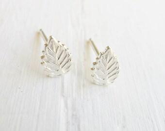 Leaf Studs Sterling Silver Leaves Nature Earrings Posts