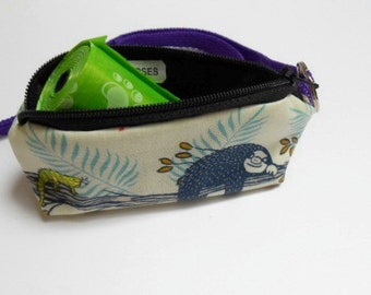 Dog Bag Holder Zipper Pouch with Key Ring ECO Friendly Padded  NEW Sloth Days