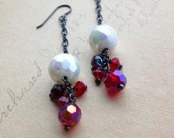 CLEARANCE SALE Winterbourne Earrings - Vintage Glass and Sterling