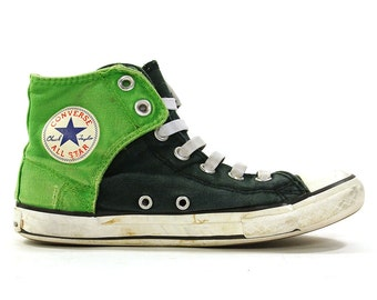 90s Converse High Top Sneakers / Vintage 1990s Two Tone Green Chucks / Rockabilly Rocker Boho Hippie Basketball Shoes / Junior's 2.5 Women 5