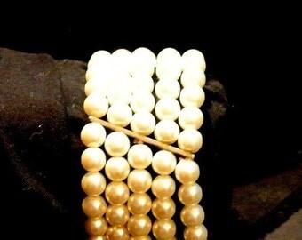 Back To School Faux 5 Strand Pearl Bracelet, Stretch Pearl Bracelet, Pearl Cuff Bracelet, Vintage Faux Pearl Bracelet, Christmas Gift