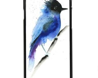 "Phone Case ""Stellar"" - Stellar Jay, Bird, Blue Bird, Canadian Bird, Watercolor Print, Phone Protection By Olga Cuttell"