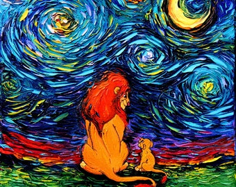 Lion King Art - Starry Night print van Gogh Never Saw The Sahara by Aja 8x8, 10x10, 12x12, 20x20, and 24x24 inches choose size