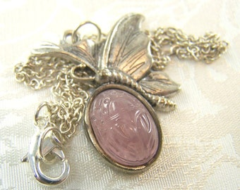 Vintage Glass Scarab and Butterfly Pendant Necklace