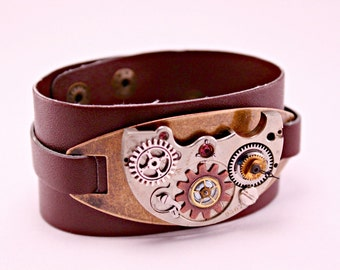 Steampunk Industrial Brown Leather Brass and Watch Part Cuff 8 Inches