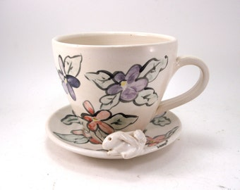 bunny and flowers cup and saucer
