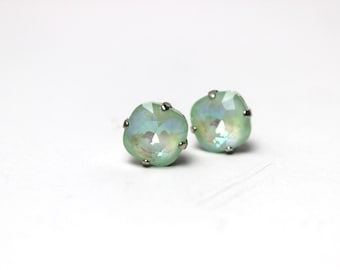 Mint Green Crystal Stud Earrings Classic Rainow Kelly Sparkling Seafoam Solitaire Swarovski Sterling Post & Copper Opaque Foiled Sea Glass