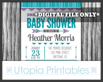 Tribal Baby Shower Invitation Teal Purple Gray Arrows Chevron Modern Theme Party Digital Printable Customized 5x7 White Grey Aqua Blue