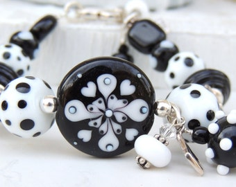 Black and White Handmade Lampwork Bead Bracelet
