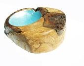 Maple Burl Bowl, Blue Wood Art, Unique Wood Art by Tracy Melton, Wooden Bowl, Maple Burl Art, Rustic Home Art, Blue Bowl, Modern Design