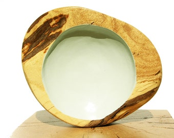 Blue Bowl, Light Blue Wood Art, Painted Turned Bowl, Red Oak Bowl, Wooden Bowl, Oak Art, Rustic Home Art, Blue Bowl, Modern Design