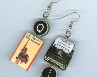 Book Cover Earrings - Don Quixote Cervantes Quote - typewriter key jewelry - asymmetrical -  librarian teacher reader literary bookish gift