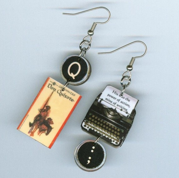 Don Quixote Quotes: Book Cover Earrings Don Quixote Cervantes Quote Typewriter