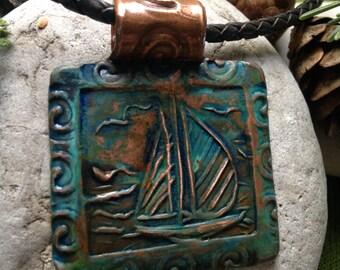 Sailboat pendant in Copper with patina,  Irish Celtic Jewelry, Sailboat Jewelry, Nautical Jewelry, Water
