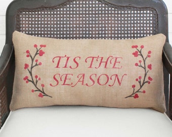Winter Berry Wreath with Holiday Saying -  Burlap Christmas Pillow - Holiday Pillow - Winter Decor - Tis the Season, Merry Christmas etc..