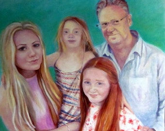 Large Custom Portrait Painting, 4 people from your own photo, 30x30in large oil painting on canvas, family portrait, father and daughters