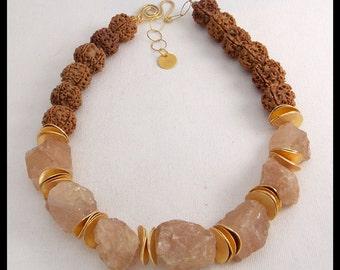 CHAMPAGNE QUARTZ - Quartz Nuggets - Sacred Nepalese Rudraksha Seeds - 1 of a Kind Elegant Necklace