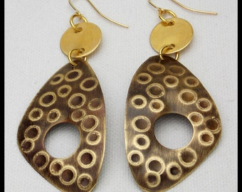 MERI - Handforged Flamed Embossed Long 2 Section Bronze Statement Earrings
