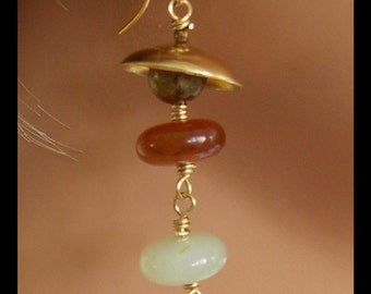 CANDY JADE - Jade Handcoiled on Bronze Wire - Handforged Bronze Domes - Long Earrings