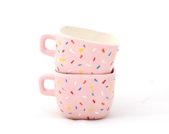 Coffee Cup- Donut Inspired - Pink with Sprinkles - Modern Ceramics - Ceramics and Pottery