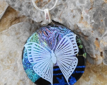 Round Fused Glass Necklace, Fused Glass Butterfly Pendant, Dichroic Fused Glass Pendant, Summer Jewelry- White Butterfly