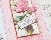 Vintage Inspired Birthday Card, Rose Birthday, Blank Card, Feminine Birthday, Anna Griffin Design, Shabby Chic, Gift for her, Cottage Chic