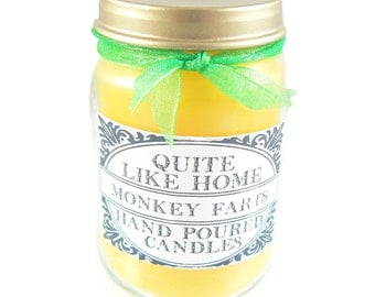 Monkey Farts scented 6 oz. jar candle with gold lid, and organza ribbon. Fruit, fruity, pineapple, banana, tropical, strawberry kiwi, funny