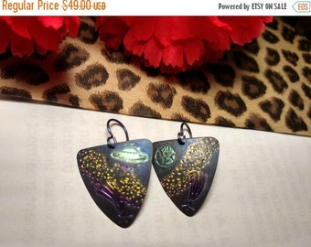 Amazing Vintage Titanium UFO Outer Space Black Gold Pink Green Earrings Asteriods Aliens Sci Fi Planet Earth Ship Shooting Star