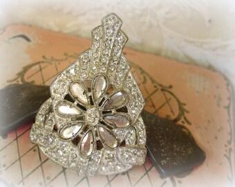 vintage pot metal and rhinestone dress clip/fur clip sheild shaped dress clip with flower fancy clip